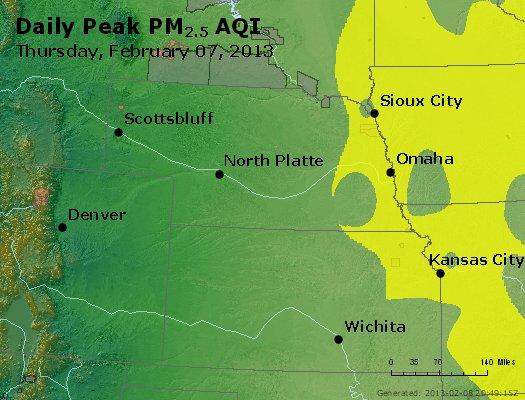 Peak Particles PM<sub>2.5</sub> (24-hour) - http://files.airnowtech.org/airnow/2013/20130207/peak_pm25_ne_ks.jpg