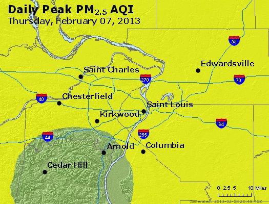Peak Particles PM<sub>2.5</sub> (24-hour) - http://files.airnowtech.org/airnow/2013/20130207/peak_pm25_stlouis_mo.jpg