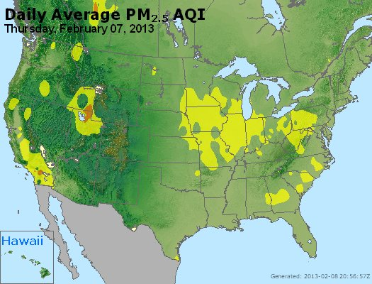 Peak Particles PM<sub>2.5</sub> (24-hour) - http://files.airnowtech.org/airnow/2013/20130207/peak_pm25_usa.jpg