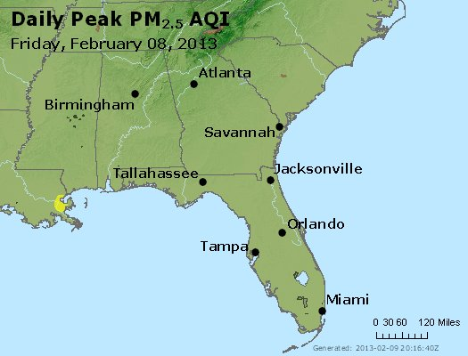 Peak Particles PM<sub>2.5</sub> (24-hour) - http://files.airnowtech.org/airnow/2013/20130208/peak_pm25_al_ga_fl.jpg