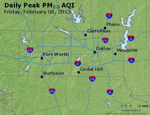 Peak Particles PM<sub>2.5</sub> (24-hour) - http://files.airnowtech.org/airnow/2013/20130208/peak_pm25_dallas_tx.jpg
