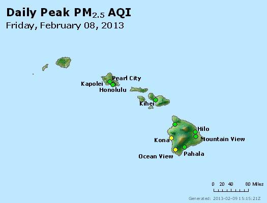 Peak Particles PM<sub>2.5</sub> (24-hour) - http://files.airnowtech.org/airnow/2013/20130208/peak_pm25_hawaii.jpg