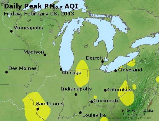 Peak Particles PM<sub>2.5</sub> (24-hour) - http://files.airnowtech.org/airnow/2013/20130208/peak_pm25_mi_in_oh.jpg