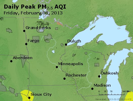Peak Particles PM<sub>2.5</sub> (24-hour) - http://files.airnowtech.org/airnow/2013/20130208/peak_pm25_mn_wi.jpg