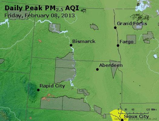 Peak Particles PM<sub>2.5</sub> (24-hour) - http://files.airnowtech.org/airnow/2013/20130208/peak_pm25_nd_sd.jpg