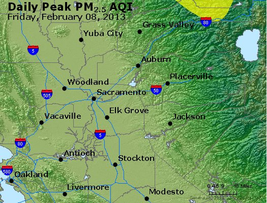 Peak Particles PM<sub>2.5</sub> (24-hour) - http://files.airnowtech.org/airnow/2013/20130208/peak_pm25_sacramento_ca.jpg