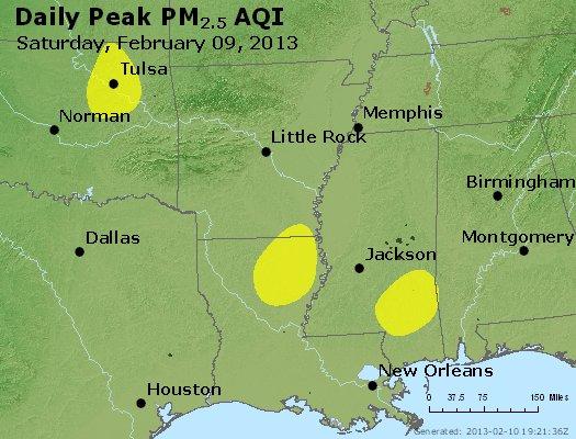 Peak Particles PM<sub>2.5</sub> (24-hour) - http://files.airnowtech.org/airnow/2013/20130209/peak_pm25_ar_la_ms.jpg
