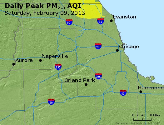 Peak Particles PM<sub>2.5</sub> (24-hour) - http://files.airnowtech.org/airnow/2013/20130209/peak_pm25_chicago_il.jpg