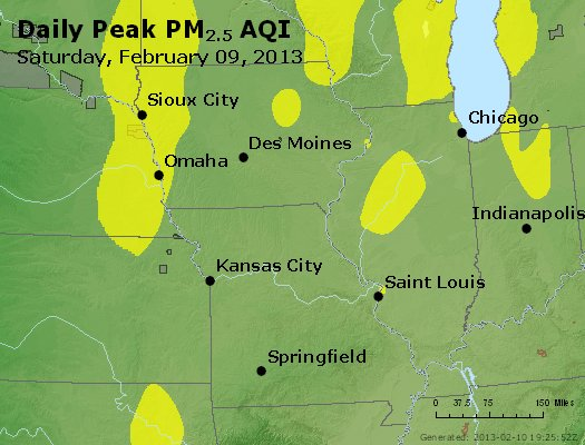 Peak Particles PM<sub>2.5</sub> (24-hour) - http://files.airnowtech.org/airnow/2013/20130209/peak_pm25_ia_il_mo.jpg