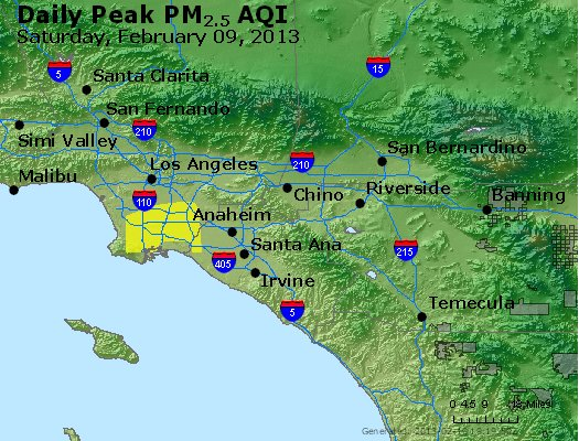 Peak Particles PM<sub>2.5</sub> (24-hour) - http://files.airnowtech.org/airnow/2013/20130209/peak_pm25_losangeles_ca.jpg