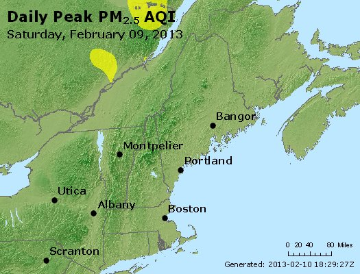 Peak Particles PM<sub>2.5</sub> (24-hour) - http://files.airnowtech.org/airnow/2013/20130209/peak_pm25_vt_nh_ma_ct_ri_me.jpg