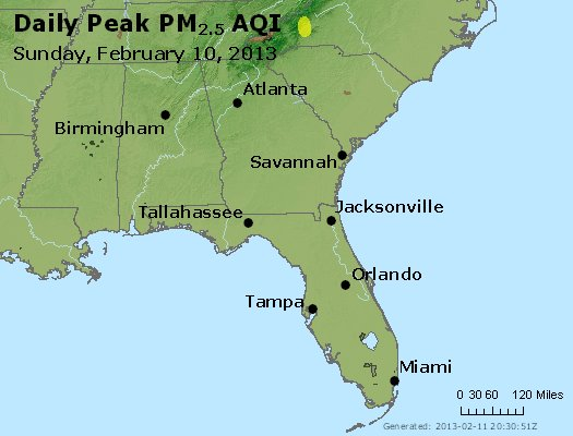 Peak Particles PM<sub>2.5</sub> (24-hour) - http://files.airnowtech.org/airnow/2013/20130210/peak_pm25_al_ga_fl.jpg