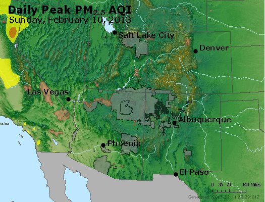 Peak Particles PM<sub>2.5</sub> (24-hour) - http://files.airnowtech.org/airnow/2013/20130210/peak_pm25_co_ut_az_nm.jpg