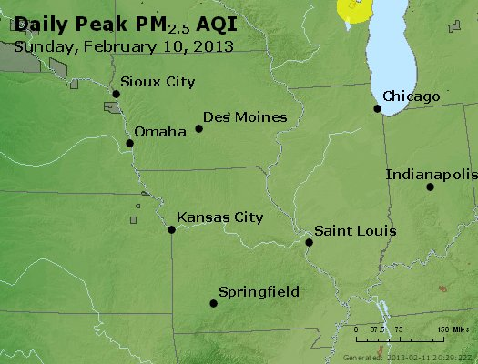 Peak Particles PM<sub>2.5</sub> (24-hour) - http://files.airnowtech.org/airnow/2013/20130210/peak_pm25_ia_il_mo.jpg