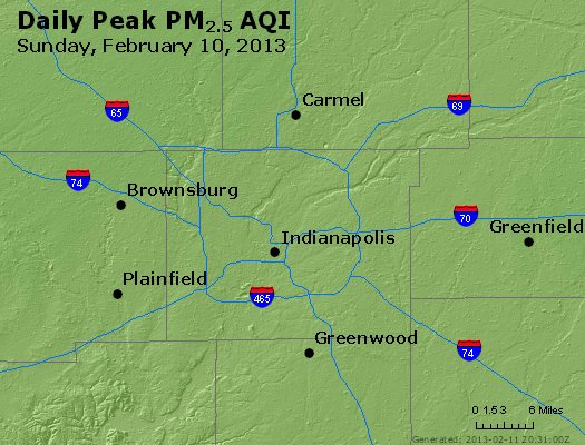 Peak Particles PM<sub>2.5</sub> (24-hour) - http://files.airnowtech.org/airnow/2013/20130210/peak_pm25_indianapolis_in.jpg