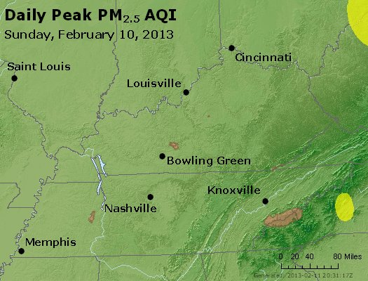 Peak Particles PM<sub>2.5</sub> (24-hour) - http://files.airnowtech.org/airnow/2013/20130210/peak_pm25_ky_tn.jpg