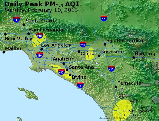 Peak Particles PM<sub>2.5</sub> (24-hour) - http://files.airnowtech.org/airnow/2013/20130210/peak_pm25_losangeles_ca.jpg