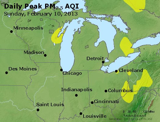 Peak Particles PM<sub>2.5</sub> (24-hour) - http://files.airnowtech.org/airnow/2013/20130210/peak_pm25_mi_in_oh.jpg
