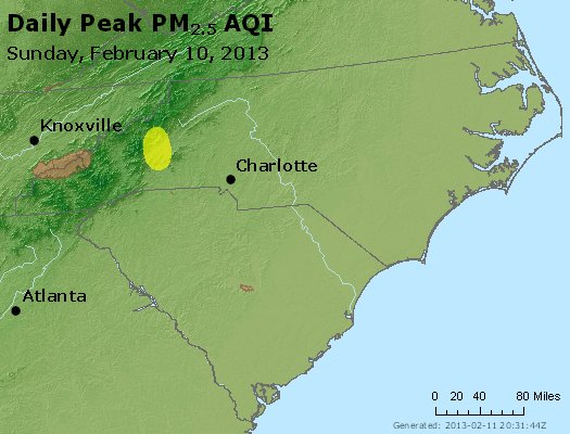 Peak Particles PM<sub>2.5</sub> (24-hour) - http://files.airnowtech.org/airnow/2013/20130210/peak_pm25_nc_sc.jpg