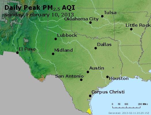 Peak Particles PM<sub>2.5</sub> (24-hour) - http://files.airnowtech.org/airnow/2013/20130210/peak_pm25_tx_ok.jpg
