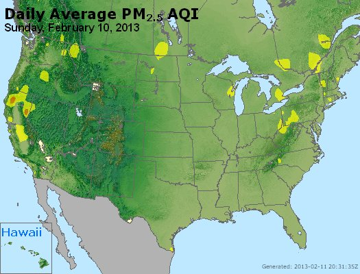 Peak Particles PM<sub>2.5</sub> (24-hour) - http://files.airnowtech.org/airnow/2013/20130210/peak_pm25_usa.jpg