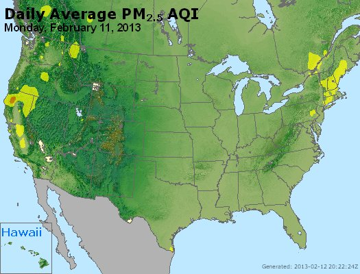 Peak Particles PM<sub>2.5</sub> (24-hour) - http://files.airnowtech.org/airnow/2013/20130211/peak_pm25_usa.jpg