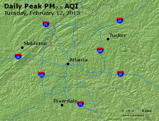Peak Particles PM<sub>2.5</sub> (24-hour) - http://files.airnowtech.org/airnow/2013/20130212/peak_pm25_atlanta_ga.jpg