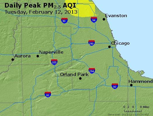 Peak Particles PM<sub>2.5</sub> (24-hour) - http://files.airnowtech.org/airnow/2013/20130212/peak_pm25_chicago_il.jpg