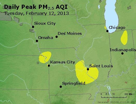 Peak Particles PM<sub>2.5</sub> (24-hour) - http://files.airnowtech.org/airnow/2013/20130212/peak_pm25_ia_il_mo.jpg