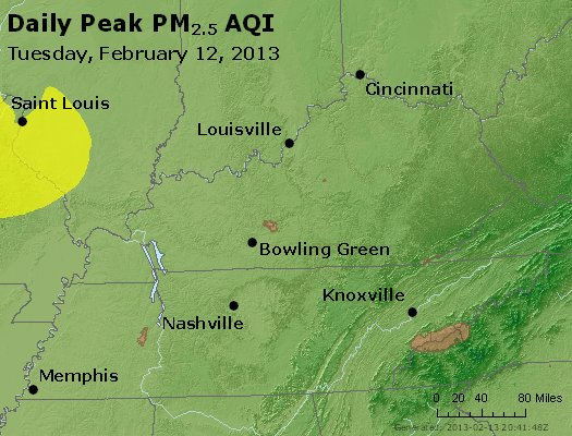 Peak Particles PM<sub>2.5</sub> (24-hour) - http://files.airnowtech.org/airnow/2013/20130212/peak_pm25_ky_tn.jpg