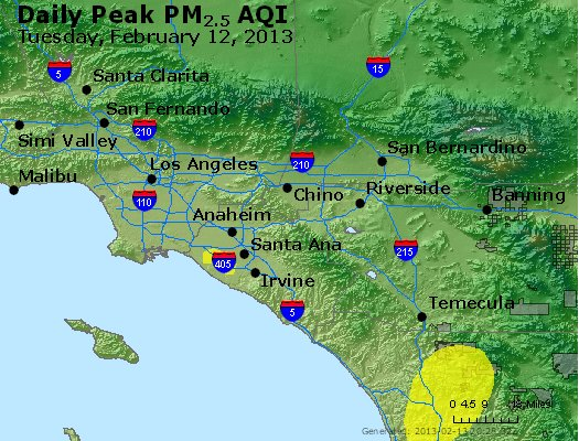 Peak Particles PM<sub>2.5</sub> (24-hour) - http://files.airnowtech.org/airnow/2013/20130212/peak_pm25_losangeles_ca.jpg