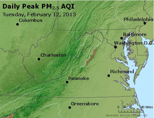 Peak Particles PM<sub>2.5</sub> (24-hour) - http://files.airnowtech.org/airnow/2013/20130212/peak_pm25_va_wv_md_de_dc.jpg