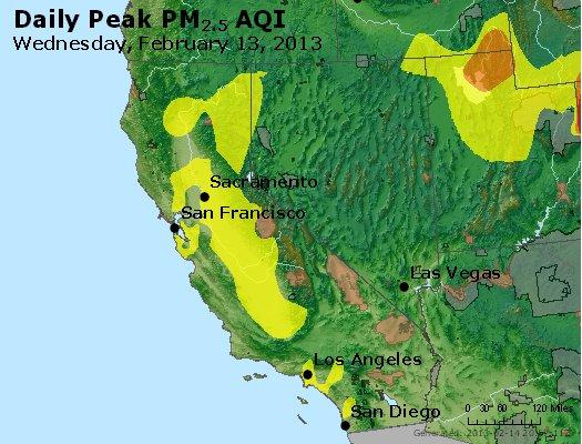 Peak Particles PM<sub>2.5</sub> (24-hour) - http://files.airnowtech.org/airnow/2013/20130213/peak_pm25_ca_nv.jpg