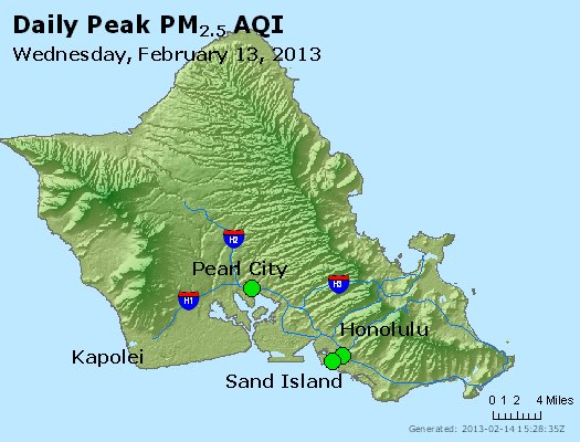 Peak Particles PM<sub>2.5</sub> (24-hour) - http://files.airnowtech.org/airnow/2013/20130213/peak_pm25_honolulu_hi.jpg