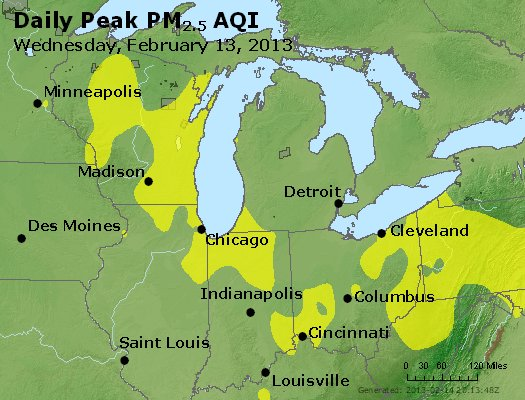 Peak Particles PM<sub>2.5</sub> (24-hour) - http://files.airnowtech.org/airnow/2013/20130213/peak_pm25_mi_in_oh.jpg