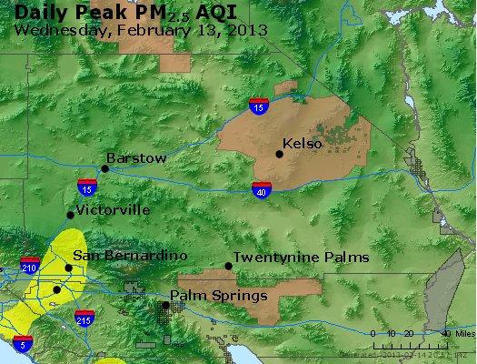Peak Particles PM<sub>2.5</sub> (24-hour) - http://files.airnowtech.org/airnow/2013/20130213/peak_pm25_sanbernardino_ca.jpg