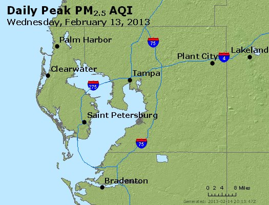 Peak Particles PM<sub>2.5</sub> (24-hour) - http://files.airnowtech.org/airnow/2013/20130213/peak_pm25_tampa_fl.jpg