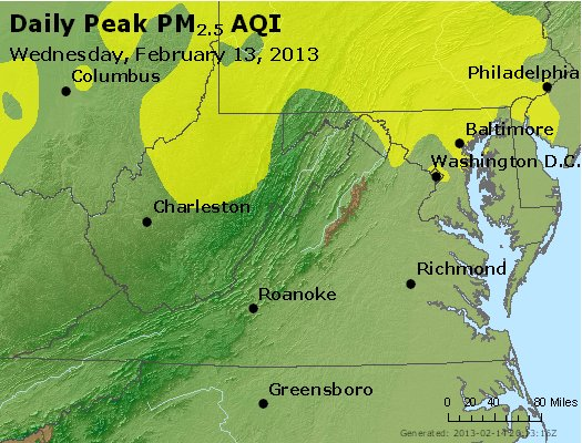 Peak Particles PM<sub>2.5</sub> (24-hour) - http://files.airnowtech.org/airnow/2013/20130213/peak_pm25_va_wv_md_de_dc.jpg