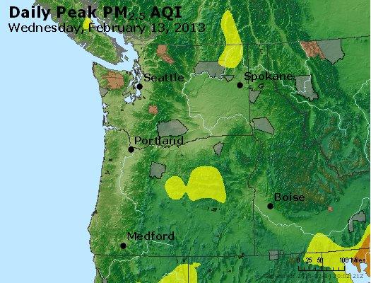 Peak Particles PM<sub>2.5</sub> (24-hour) - http://files.airnowtech.org/airnow/2013/20130213/peak_pm25_wa_or.jpg