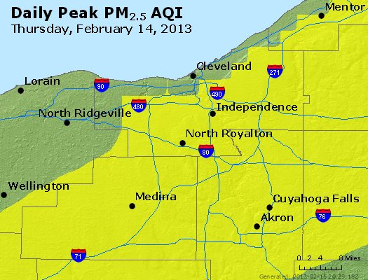 Peak Particles PM<sub>2.5</sub> (24-hour) - http://files.airnowtech.org/airnow/2013/20130214/peak_pm25_cleveland_oh.jpg