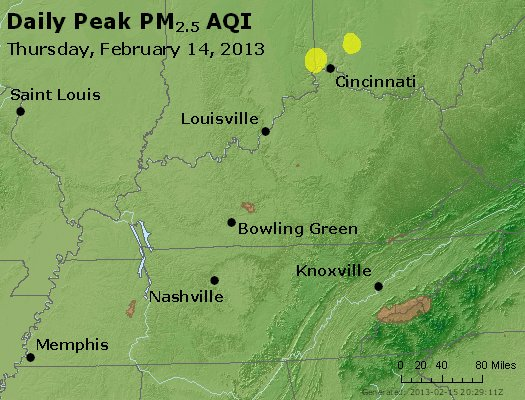 Peak Particles PM<sub>2.5</sub> (24-hour) - http://files.airnowtech.org/airnow/2013/20130214/peak_pm25_ky_tn.jpg