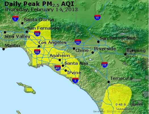 Peak Particles PM<sub>2.5</sub> (24-hour) - http://files.airnowtech.org/airnow/2013/20130214/peak_pm25_losangeles_ca.jpg