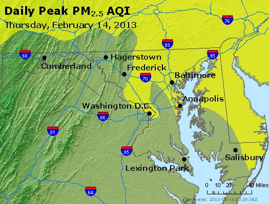 Peak Particles PM<sub>2.5</sub> (24-hour) - http://files.airnowtech.org/airnow/2013/20130214/peak_pm25_maryland.jpg