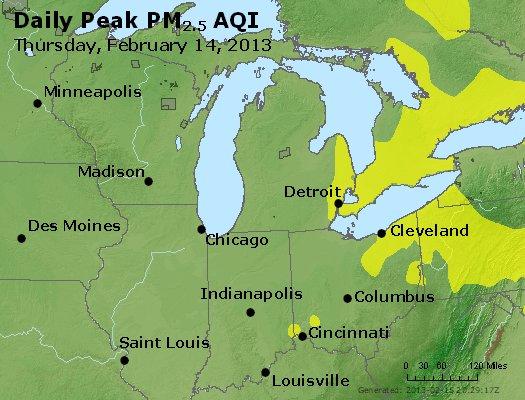 Peak Particles PM<sub>2.5</sub> (24-hour) - http://files.airnowtech.org/airnow/2013/20130214/peak_pm25_mi_in_oh.jpg