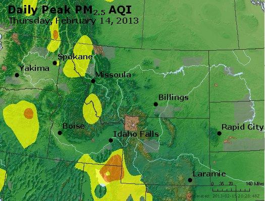 Peak Particles PM<sub>2.5</sub> (24-hour) - http://files.airnowtech.org/airnow/2013/20130214/peak_pm25_mt_id_wy.jpg