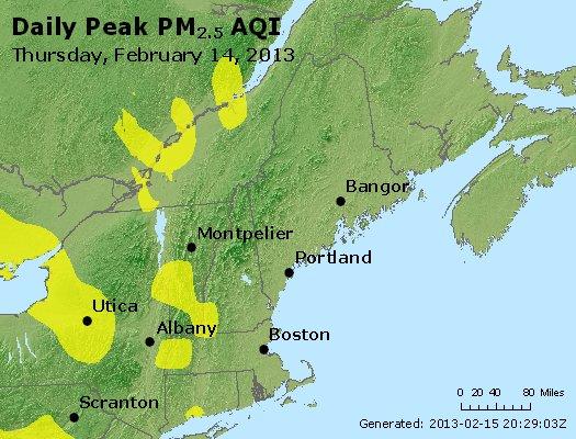 Peak Particles PM<sub>2.5</sub> (24-hour) - http://files.airnowtech.org/airnow/2013/20130214/peak_pm25_vt_nh_ma_ct_ri_me.jpg