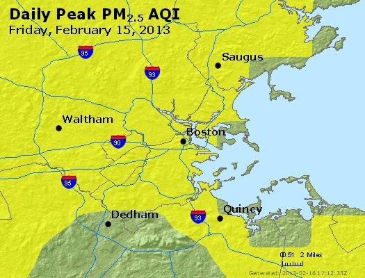Peak Particles PM<sub>2.5</sub> (24-hour) - http://files.airnowtech.org/airnow/2013/20130215/peak_pm25_boston_ma.jpg
