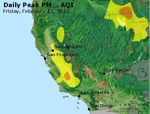 Peak Particles PM<sub>2.5</sub> (24-hour) - http://files.airnowtech.org/airnow/2013/20130215/peak_pm25_ca_nv.jpg