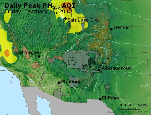 Peak Particles PM<sub>2.5</sub> (24-hour) - http://files.airnowtech.org/airnow/2013/20130215/peak_pm25_co_ut_az_nm.jpg