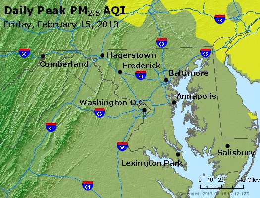 Peak Particles PM<sub>2.5</sub> (24-hour) - http://files.airnowtech.org/airnow/2013/20130215/peak_pm25_maryland.jpg